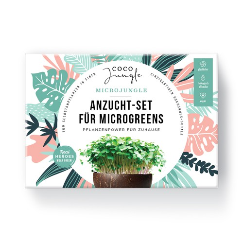 Packaging Kit to grown you own Microgreens in a coconut