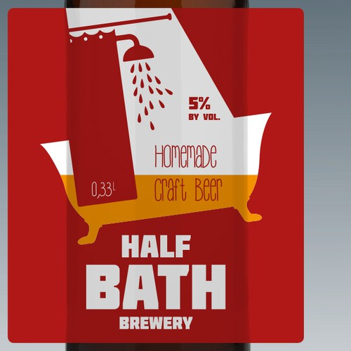 Beer bottle label for Half Bath Brewery
