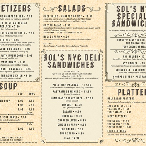 A Trifold Menu for Sol's NYC Delicatessen