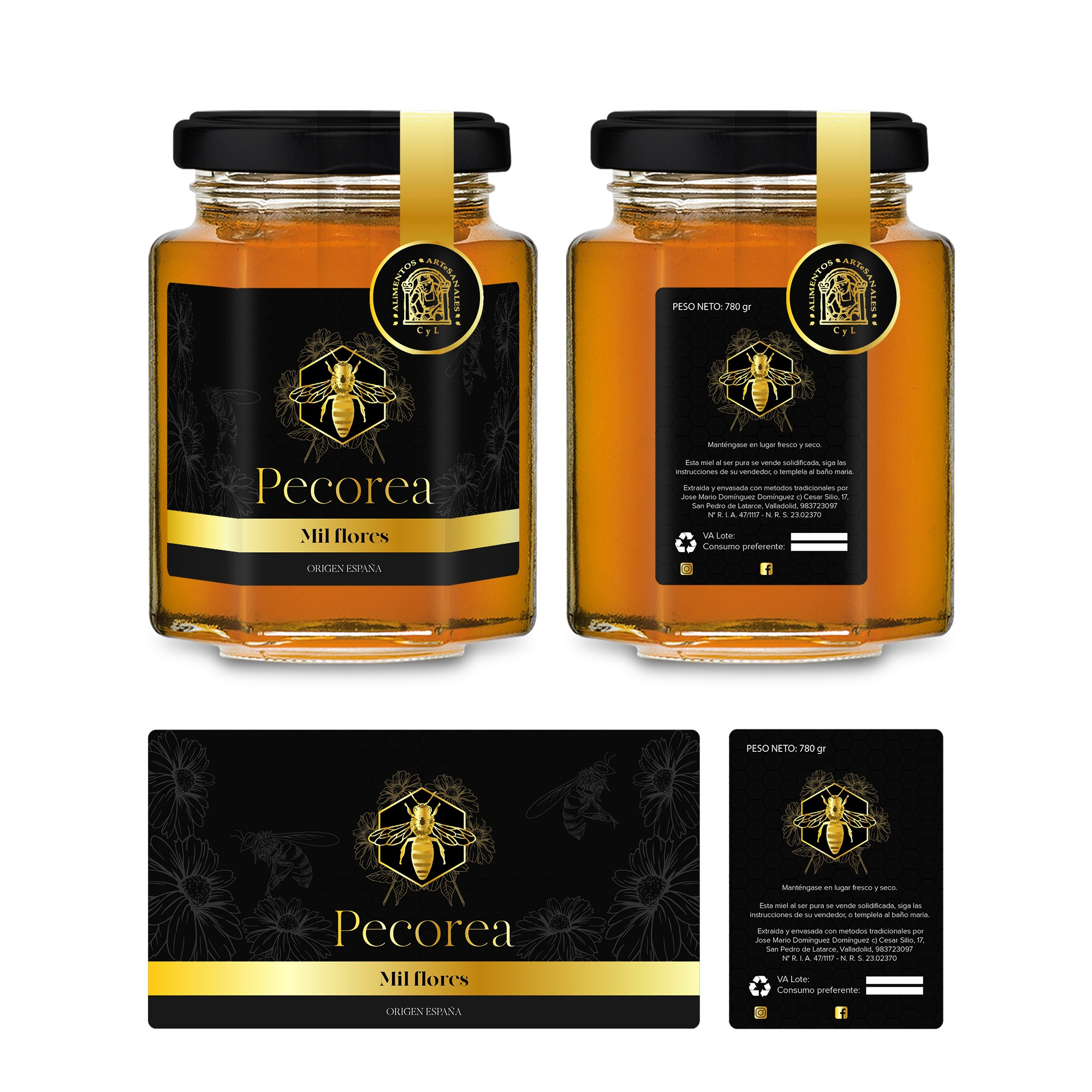 Etiqueta miel pecorea tarro hexagonal