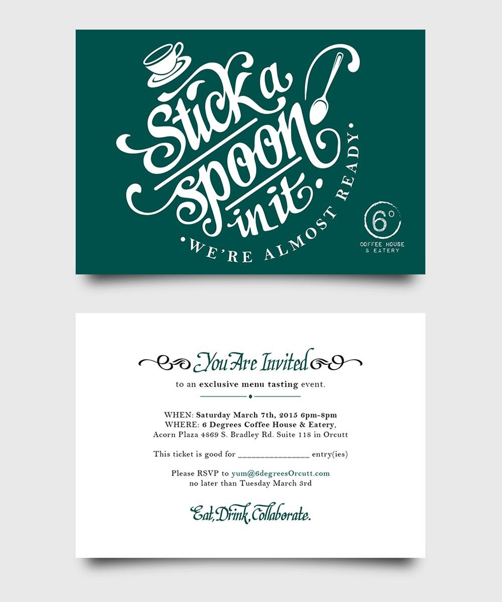 Create a coffee house menu tasting note card invite