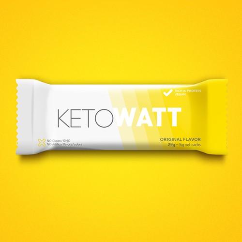 Create a minimalistic powerful nutritional bar's wrapper for KetoWatt