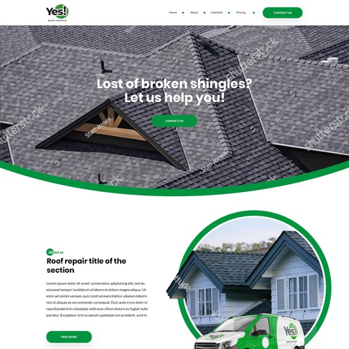 Roofing homepage re-designed