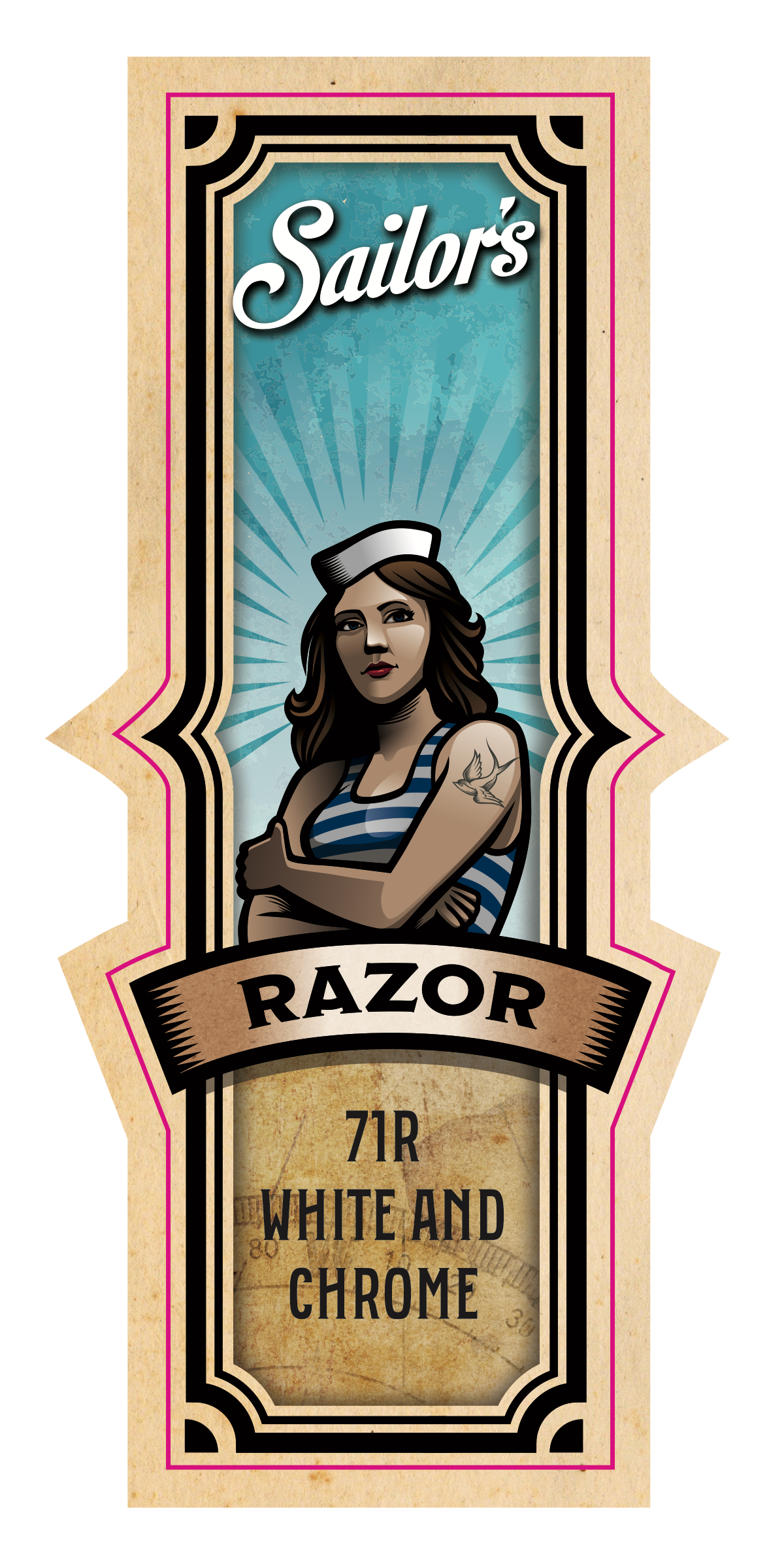 Sailor's label with female product