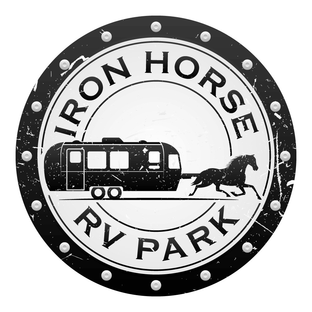 powerful horse pulling a nice, modern looking RV trailer. Also easy to embroider.