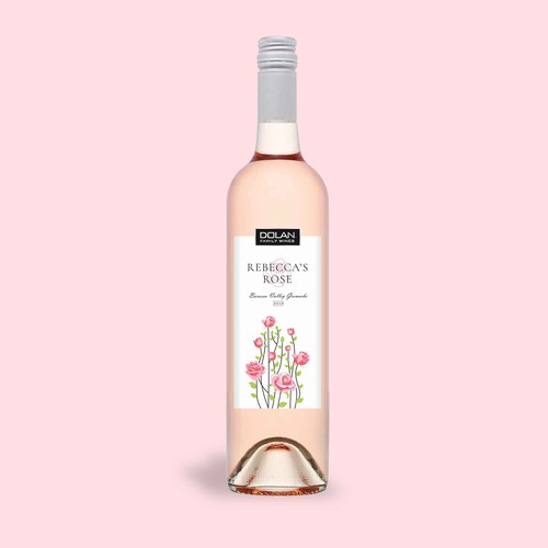 Rose wine label concept