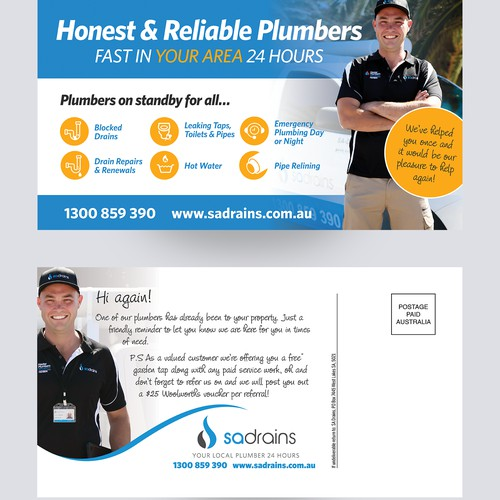 Friendly postcard to attract repeat business for plumber