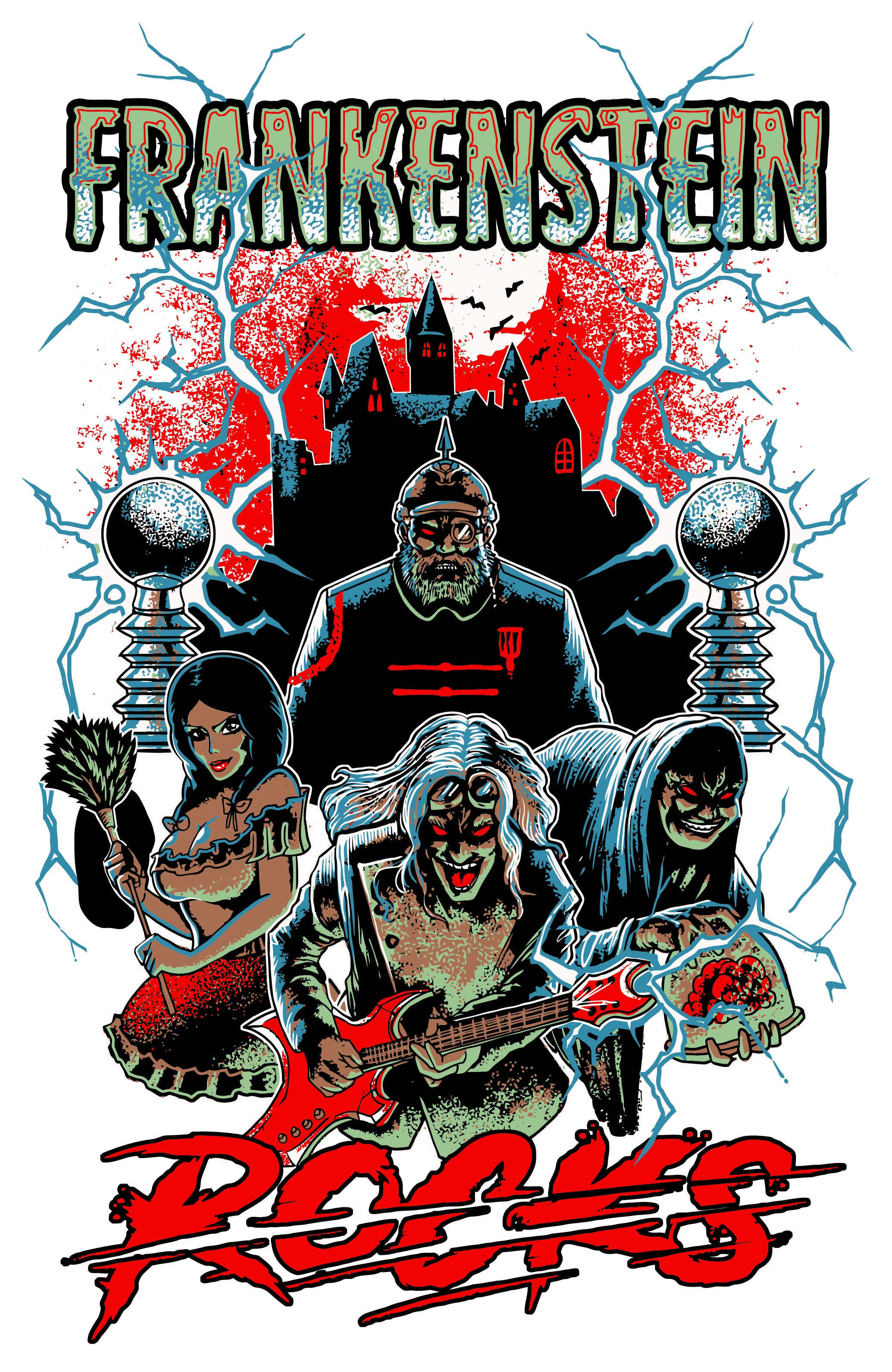 """Comic Book"" Front Cover Style for ""FRANKENSTEIN ROCKS"" Rock and roll musical"