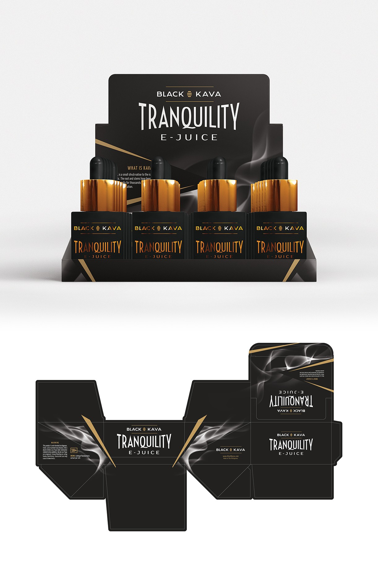 Tranquility, Black Kava and Instant Kava packaging design