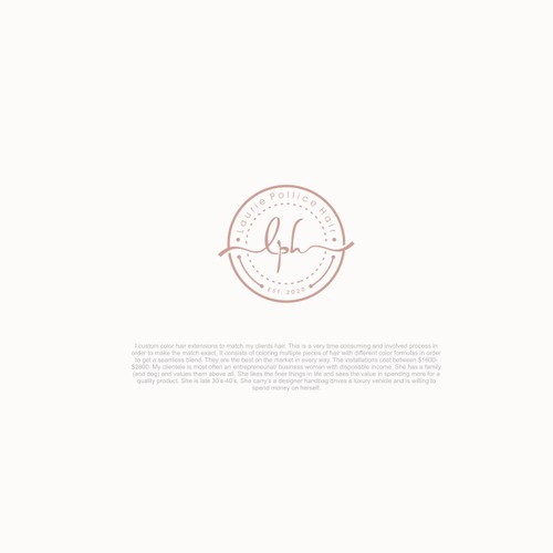 Elegant but trendy brand logo for custom hair extension and color services