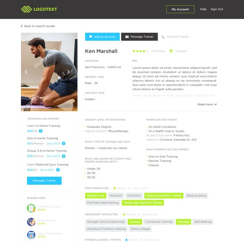 Profile page for Fitness Startup