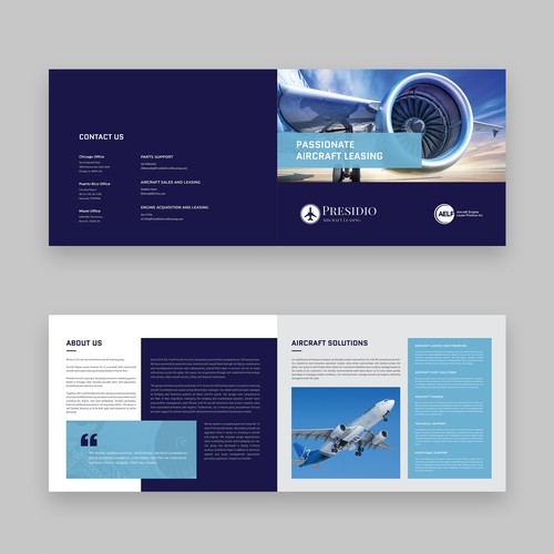 Aviation or Aircraft Engine Leasing Company brochure