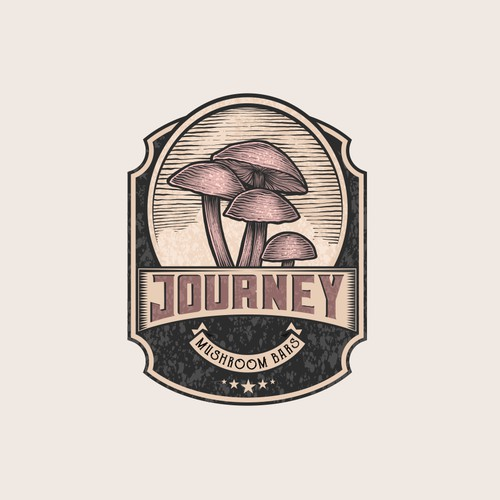 vintage logo with hand drawing illustration