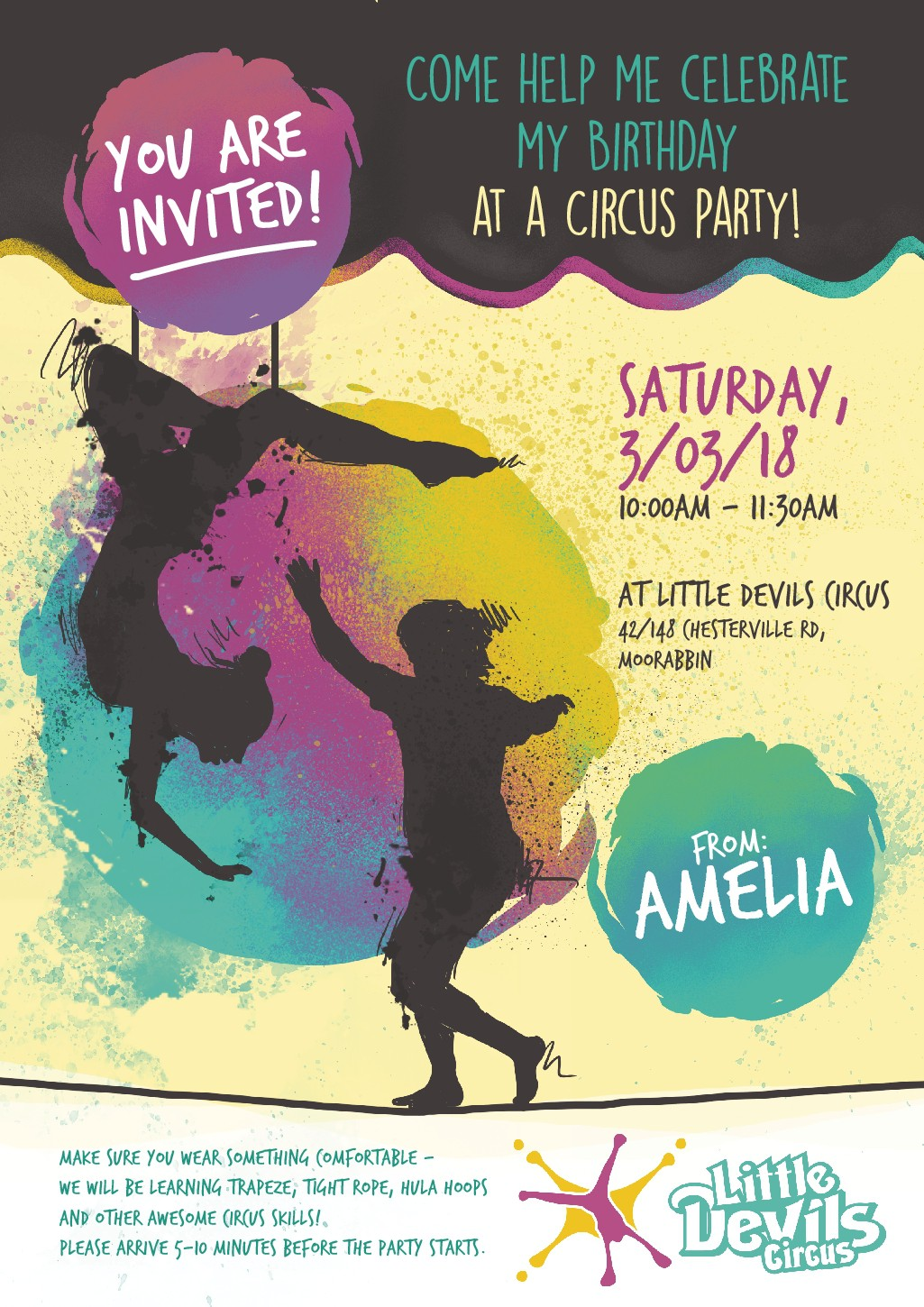 Design an awesome party invitation for a circus company!