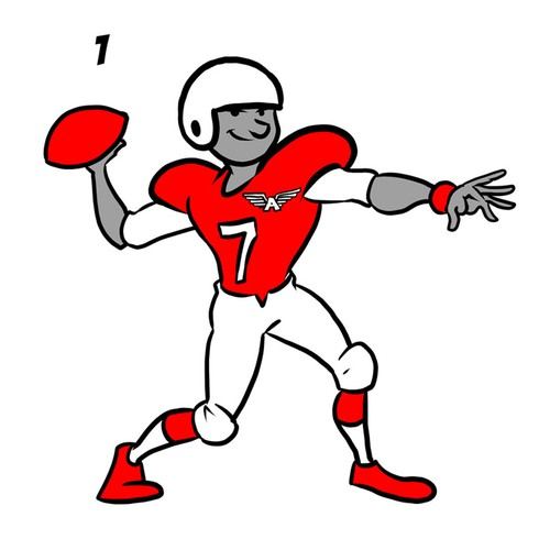 Football player in classic cartoon style