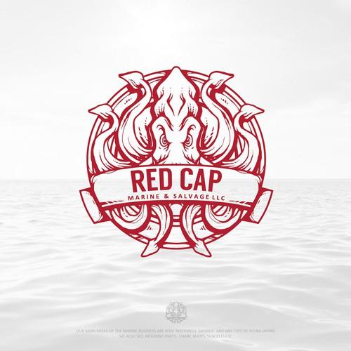 Red Cap Marine & Salvage LLC Logo Design by KhaerulRisky