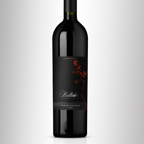 Wine Label with the theme of a rose