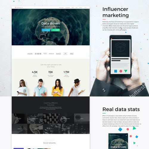Modern web design for Influencer marketing agency.