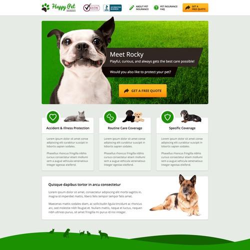 Website design for Happy Pet Insurance