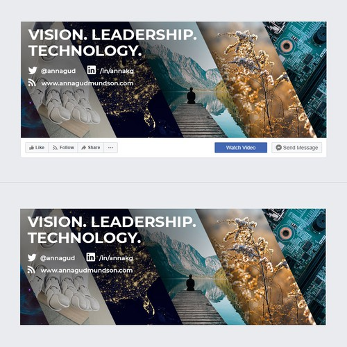 Facebook cover design for female AI loving & meditating Tech Exec