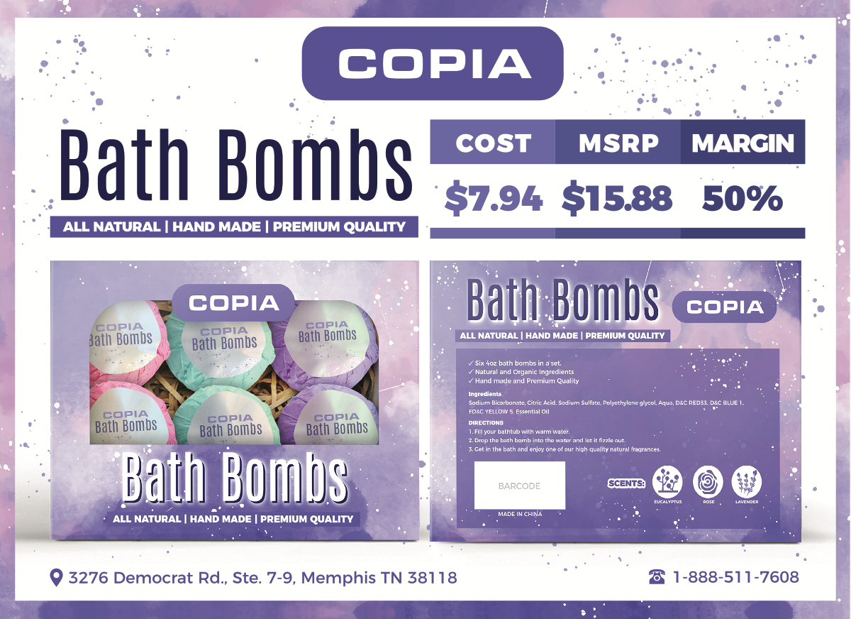 Packaging and Sale Sheet for Bath Bombs