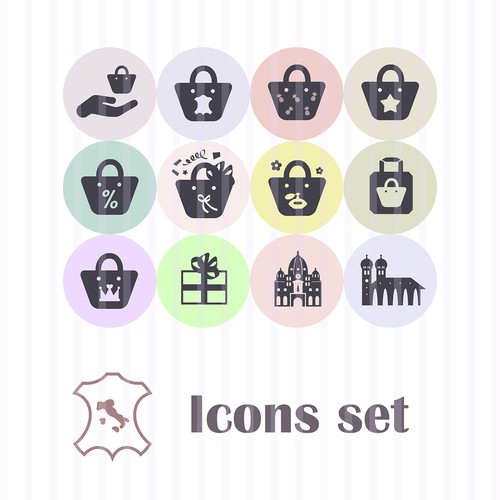 Icons set design for leather bags brand