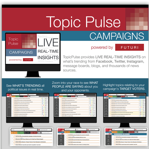Create sales one sheet for TopicPulse Campaigns - social media intelligence for politicians