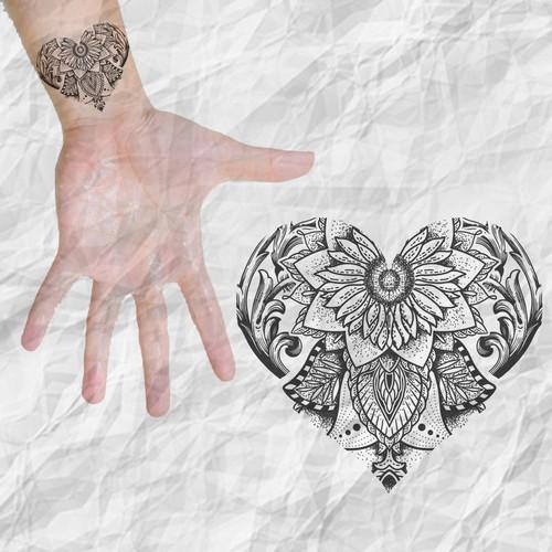Mandala Heart Small Tattoo.