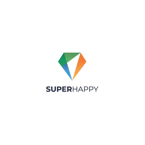 Logo with geometric shapes for 'Super Happy', a training company