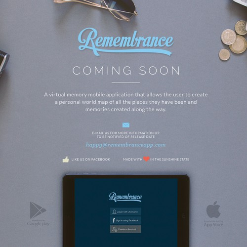 iPhone app coming soon page