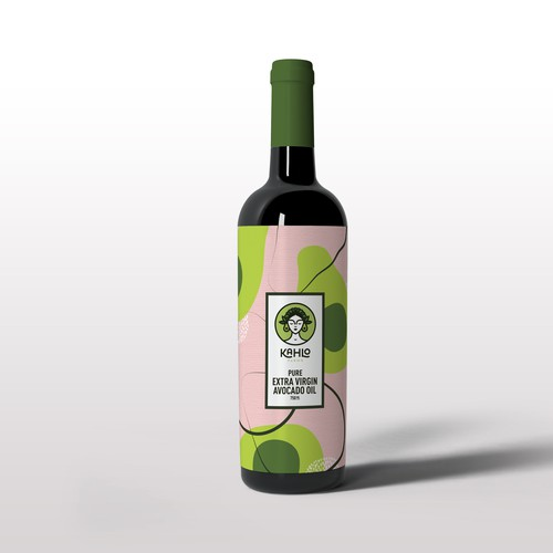 Abstract Avocado Oil Bottle Label