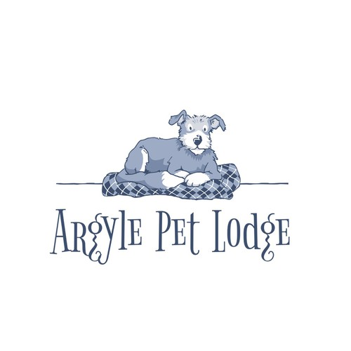 Logo for a Pet Lodge with an argyle charm