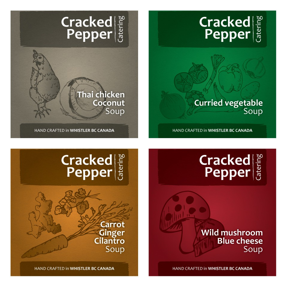 Create the next print or packaging design for Cracked Pepper Catering
