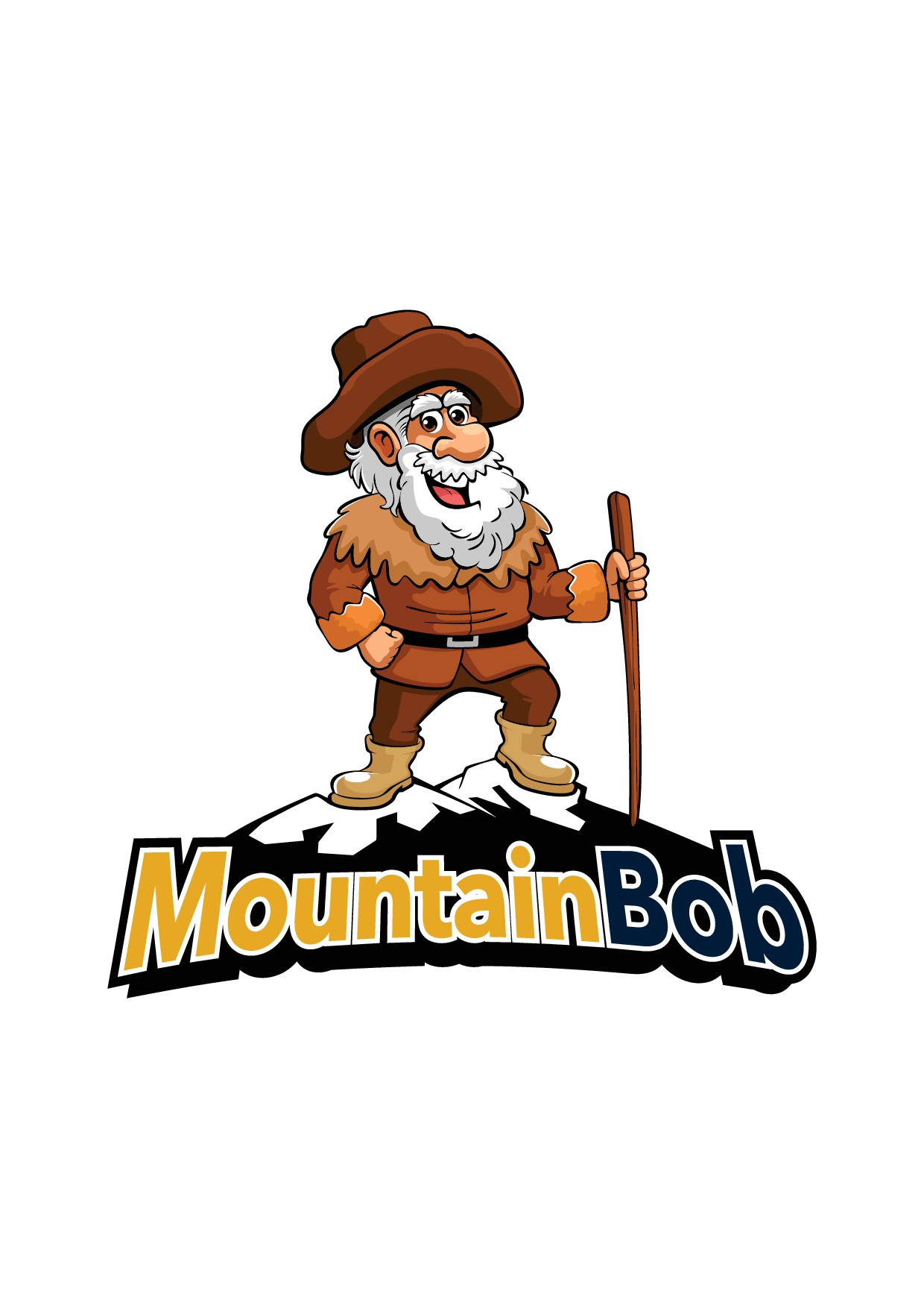 Design a cartoon Mountain Bob to walk into the future