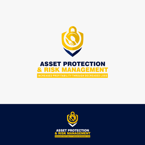 Bold protection restaurant management logo concept