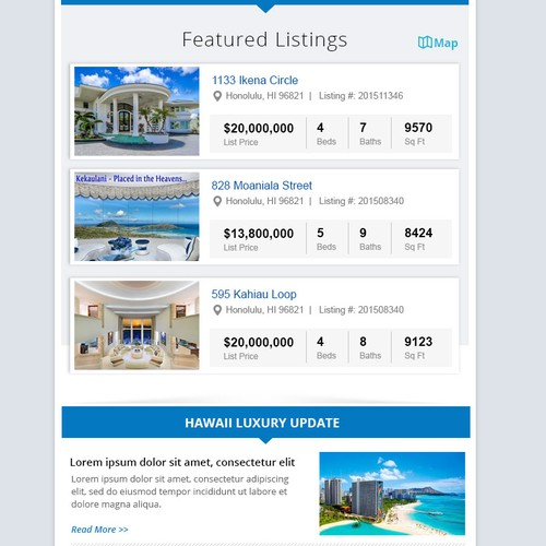 luxury real estate newsletter template for Hawaii team