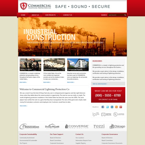 website design for Commercial Lightning Protection Company