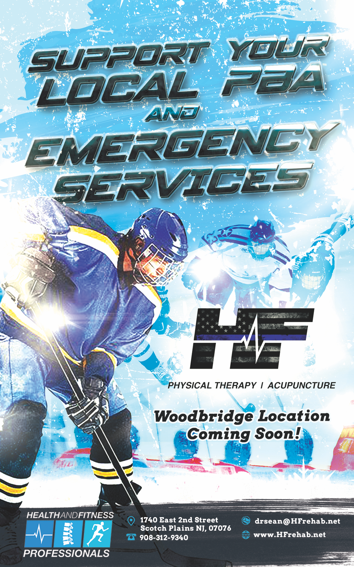 Ad for Police and Firefighter hockey game