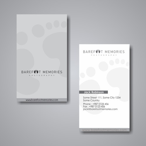 business card for Barefoot Memories