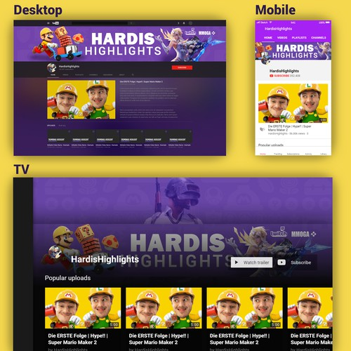 YouTube Channel Art for Twitch Streamer