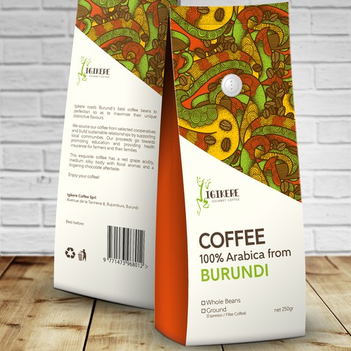 Packaging design for Igikere Gourmet Coffee