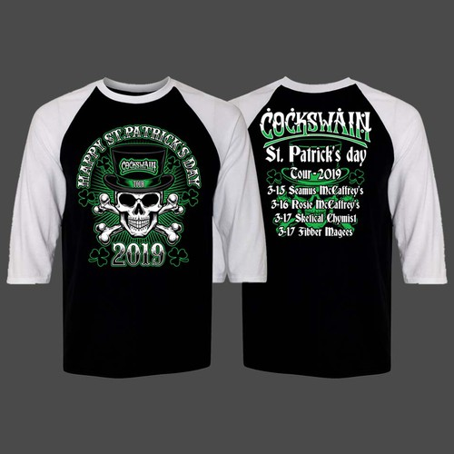 Create an old school heavy metal concert shirt for Irish punk band's St. Patrick's Day event