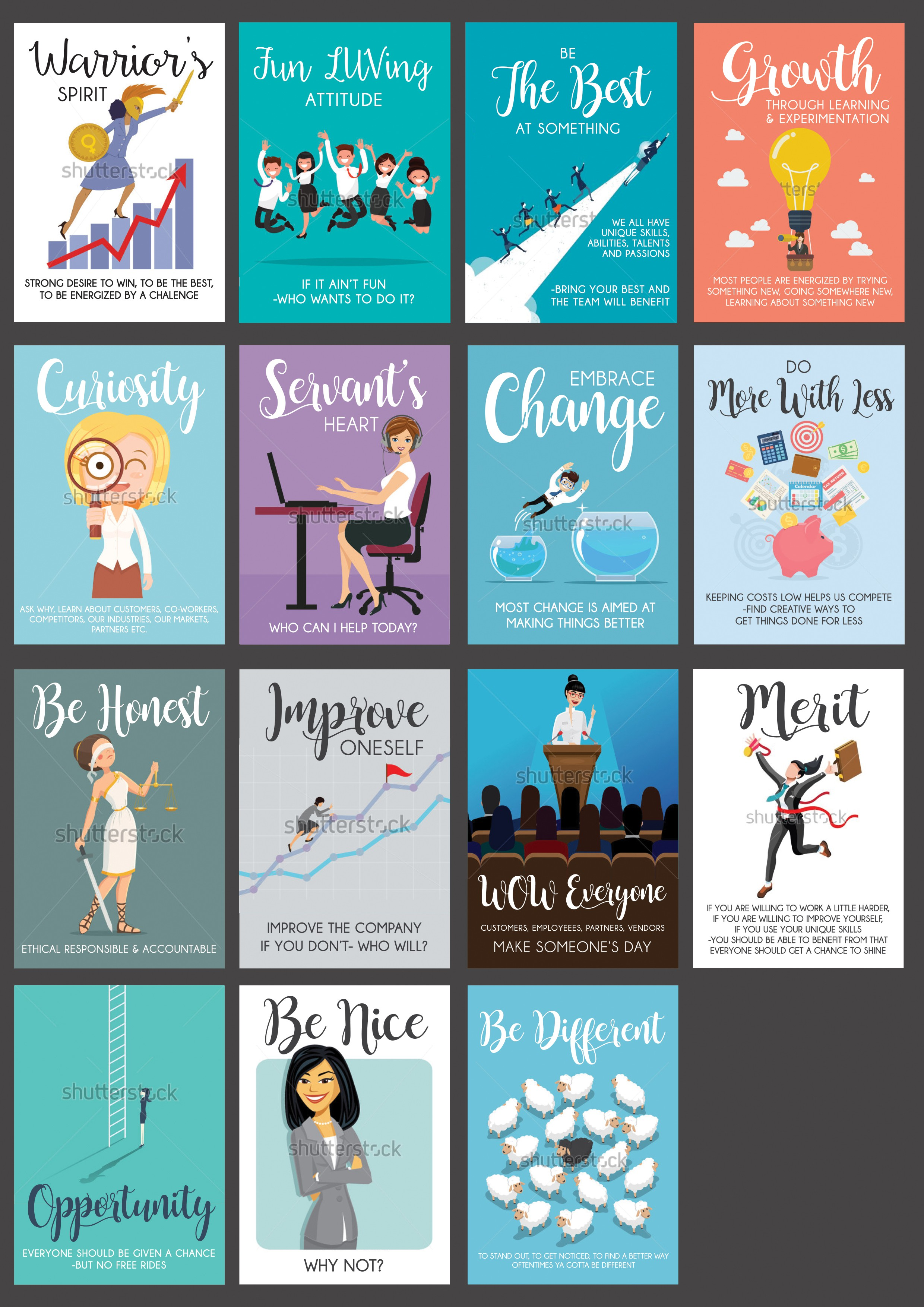 Turn our List of Company Values into cool graphics we can display around our office