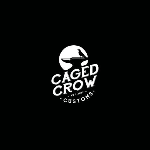 """Vintage Logo Design for """"Caged Crow Customs"""