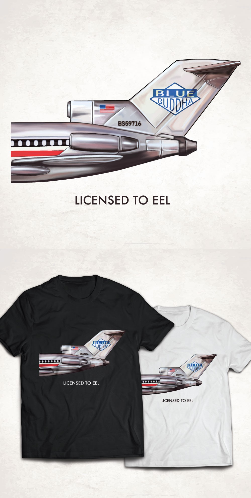 """Licensed to Eel"" T Shirt Vintage Beastie Boys Cover for Sushi Restaurant"