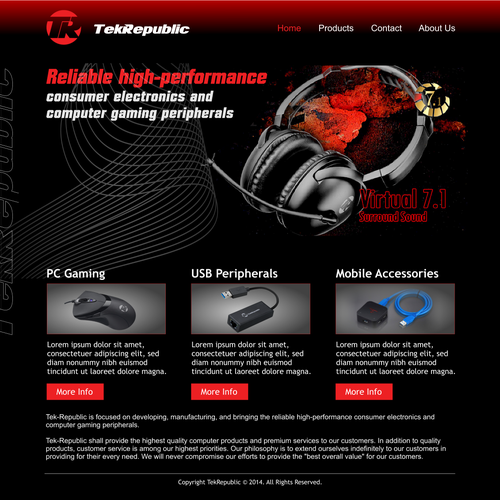 Create a awesome website landing page for awesome consumer electronics company!