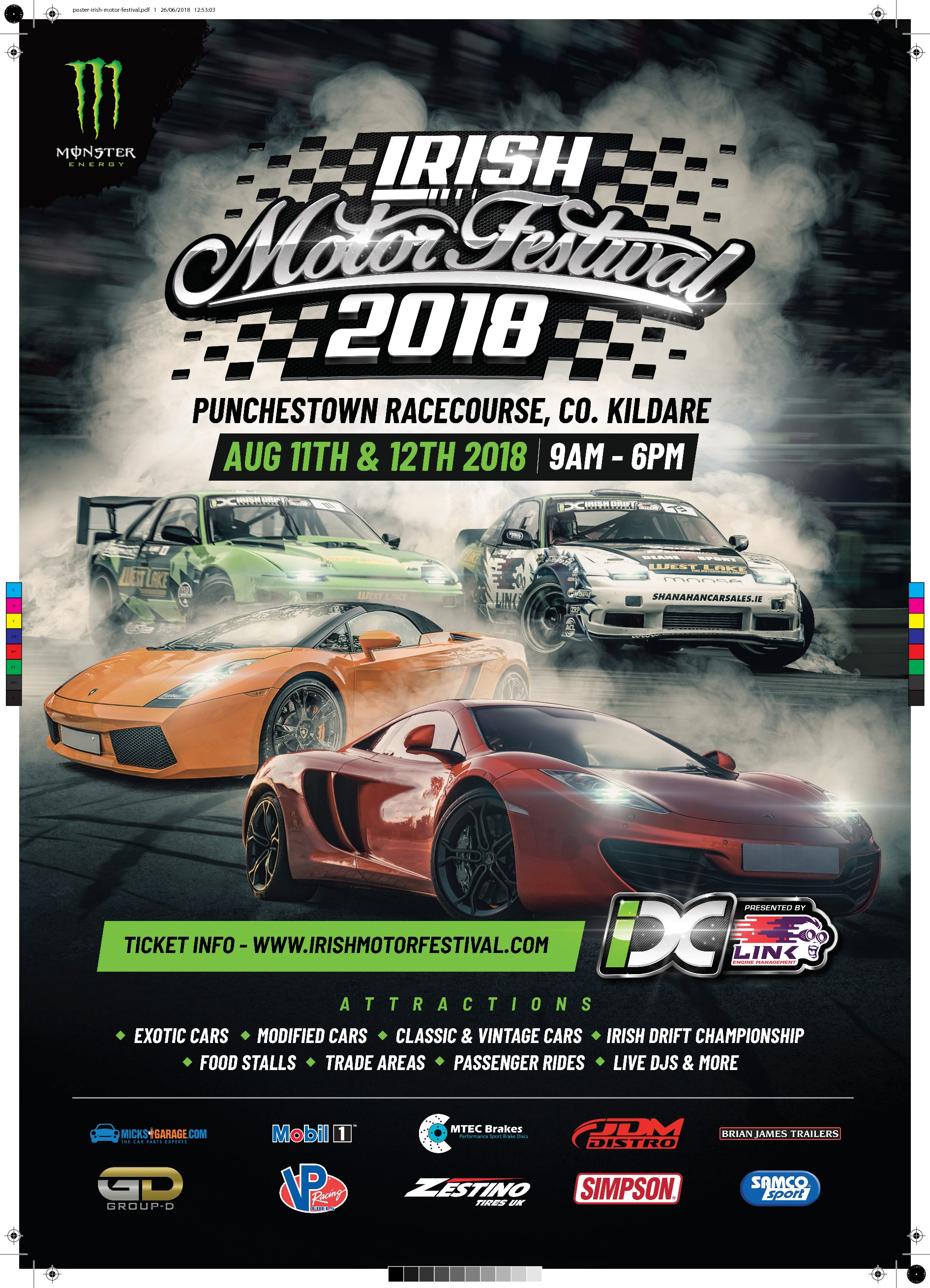 Design a poster for a large Irish National Motor & Car Festival