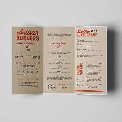 Menu Design for Rockfire Grill