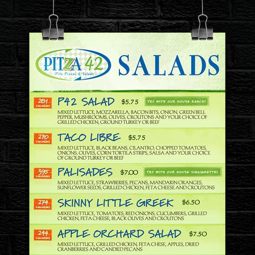 Pitza42 Salads Menu Design