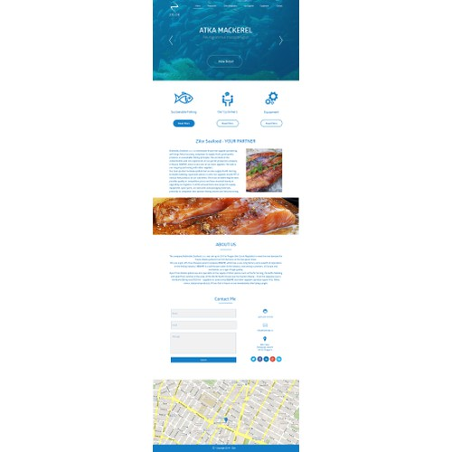Website for a company trading with marine equipment and seafood.